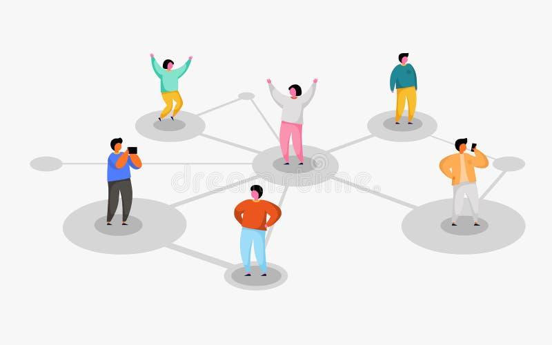 连接的人民 r 提到一个朋友节目 库存例证