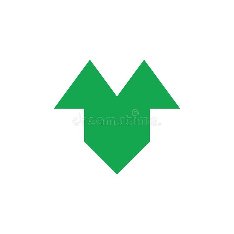 连接的几何箭头商标传染媒介 向量例证