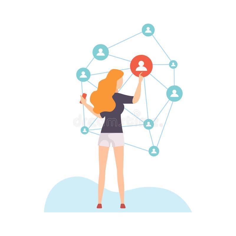 连接的女孩全世界,沟通通过互联网,社会网络传染媒介例证的年轻女人 皇族释放例证
