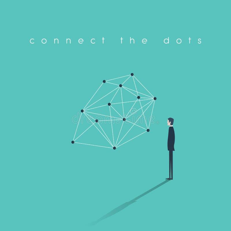 连接的小点企业概念 发现与商人的问题解答抽象传染媒介例证 向量例证