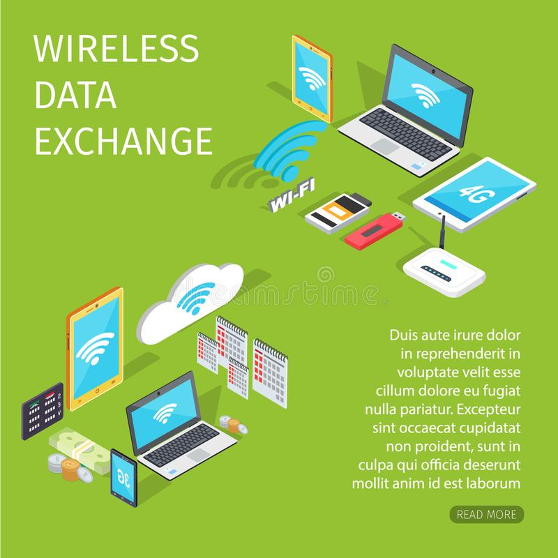 连接的无线数据交换的设备 向量例证