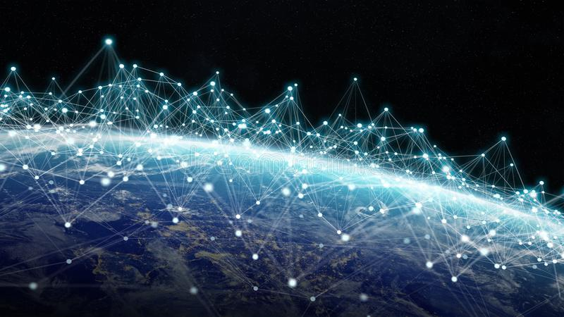连接系统和行星地球3D上的数据交换回报 向量例证