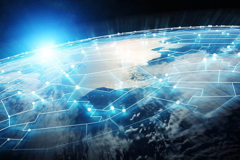 连接系统和行星地球3D上的数据交换回报 皇族释放例证