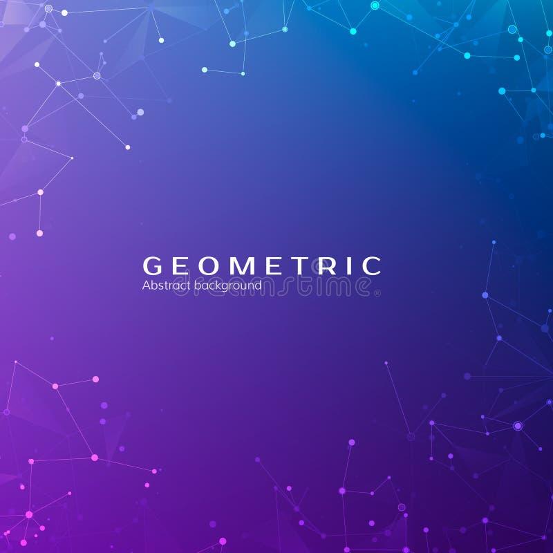 连接结构 在空间的微粒 与连接的小点和线的抽象多角形低空间多黑暗的背景 向量 库存例证