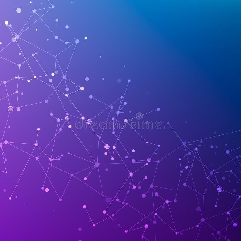 连接结构 在空间的微粒 抽象多角形低空间多深蓝和紫色背景 皇族释放例证