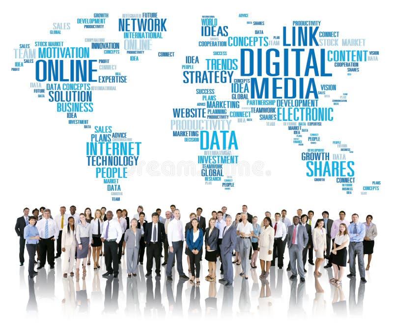 连接美满的网络技术概念的数字式媒介 向量例证