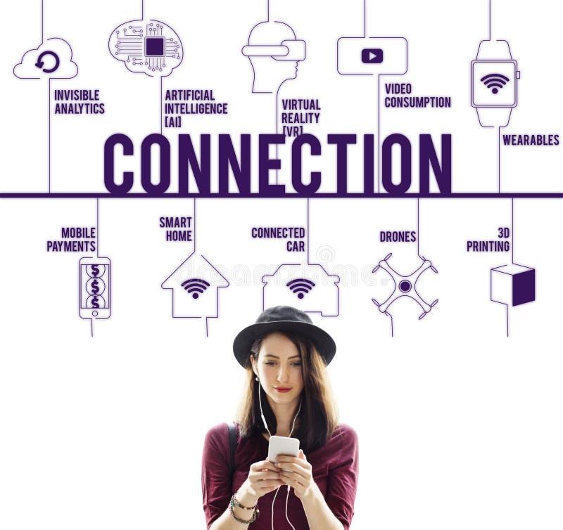 连接被连接的寄生虫技术概念 免版税库存照片