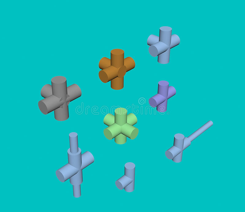 连接类型用管道输送3D 皇族释放例证