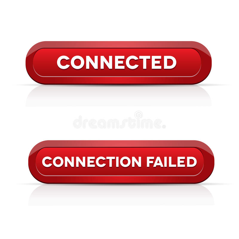 连接-连接数不合格的红色按钮 向量例证