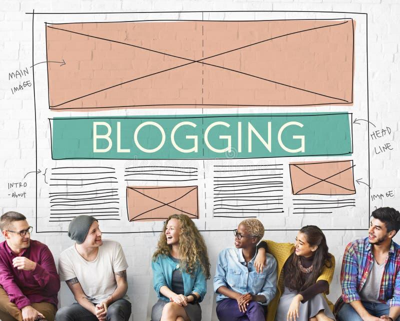 连接Concep的Blogging博克社会媒介网络互联网 库存图片
