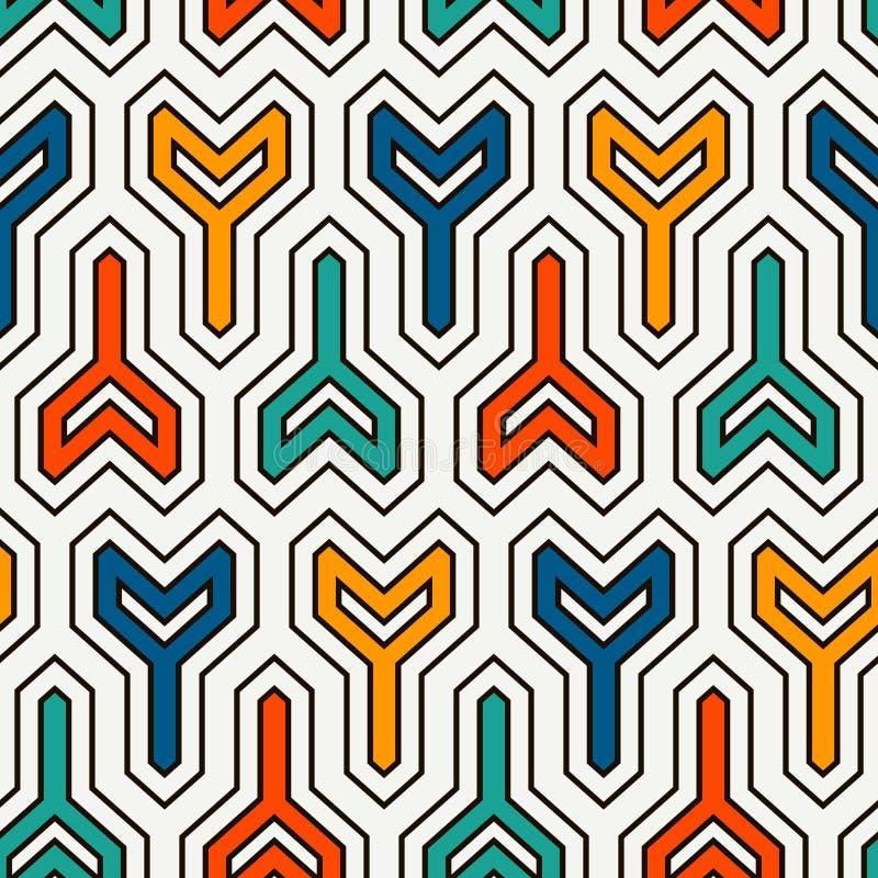 连结的三个有叉的块背景 络纱机锁上主题 与几何图的种族无缝的表面样式 库存例证
