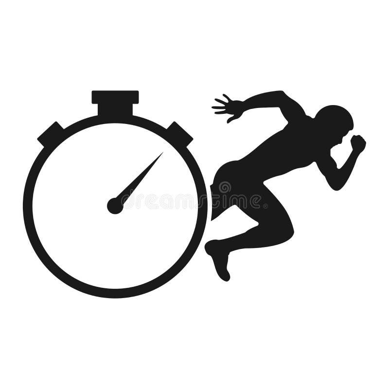 连续人传染媒介标志,秒表线传染媒介象 库存例证