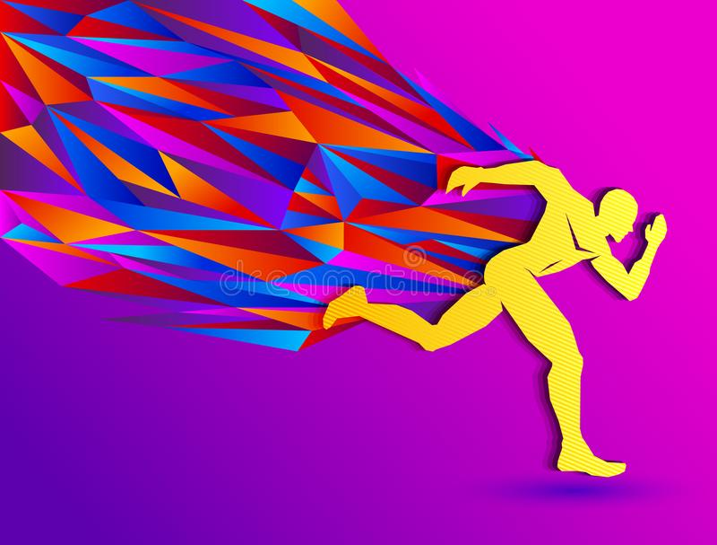 连续人,抽象体育剪影,与五颜六色的赛跑者的竞技概念 皇族释放例证