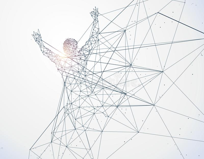 连续人,网络连接转动了入 库存例证