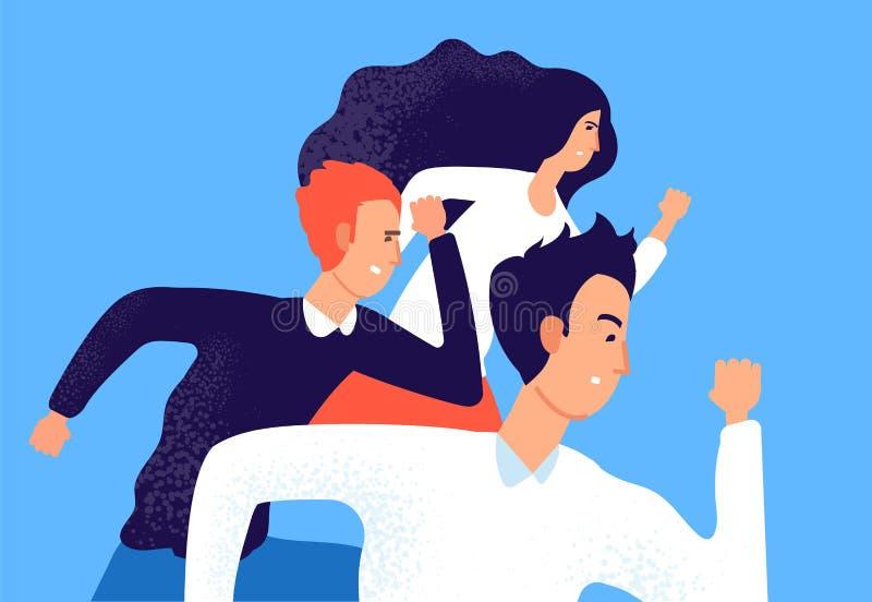 连续企业队 专业公司竞争,对手工作者跑到成功 种族的雇员 ?? 向量例证