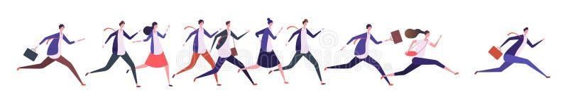 连续商人 商人女实业家,跑步的人跑到目标 竞争、领导和成功 库存例证