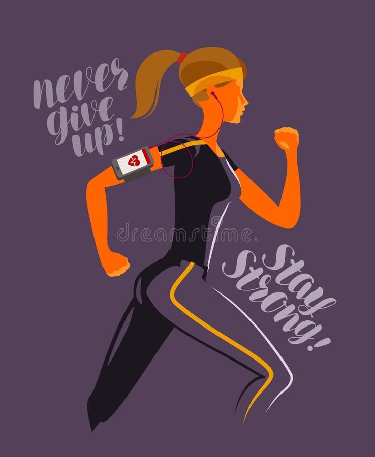 连续女孩 健身,跑步,健身房概念 也corel凹道例证向量 皇族释放例证