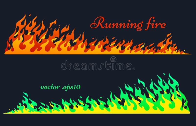 连续火,传染媒介火焰元素 向量例证
