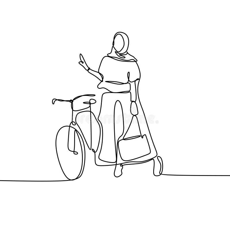 连续的一佩带hijab时尚骑马自行车最小的设计的女孩或妇女线描  库存例证
