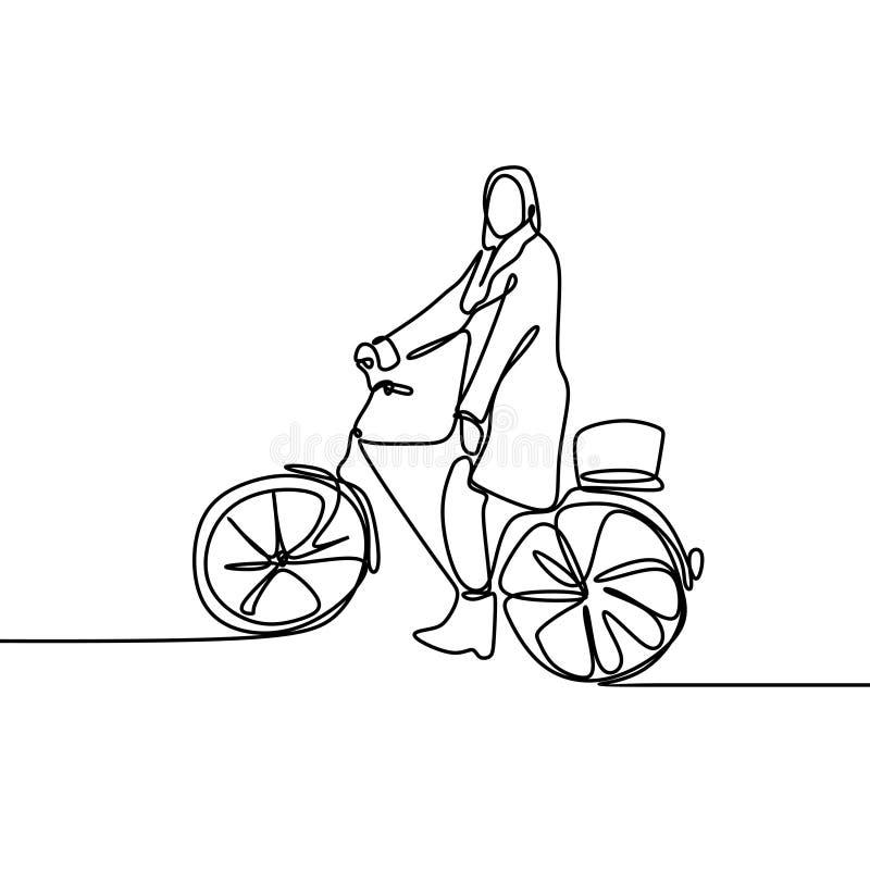 连续的一佩带hijab时尚骑马自行车最小的设计的女孩或妇女线描  皇族释放例证