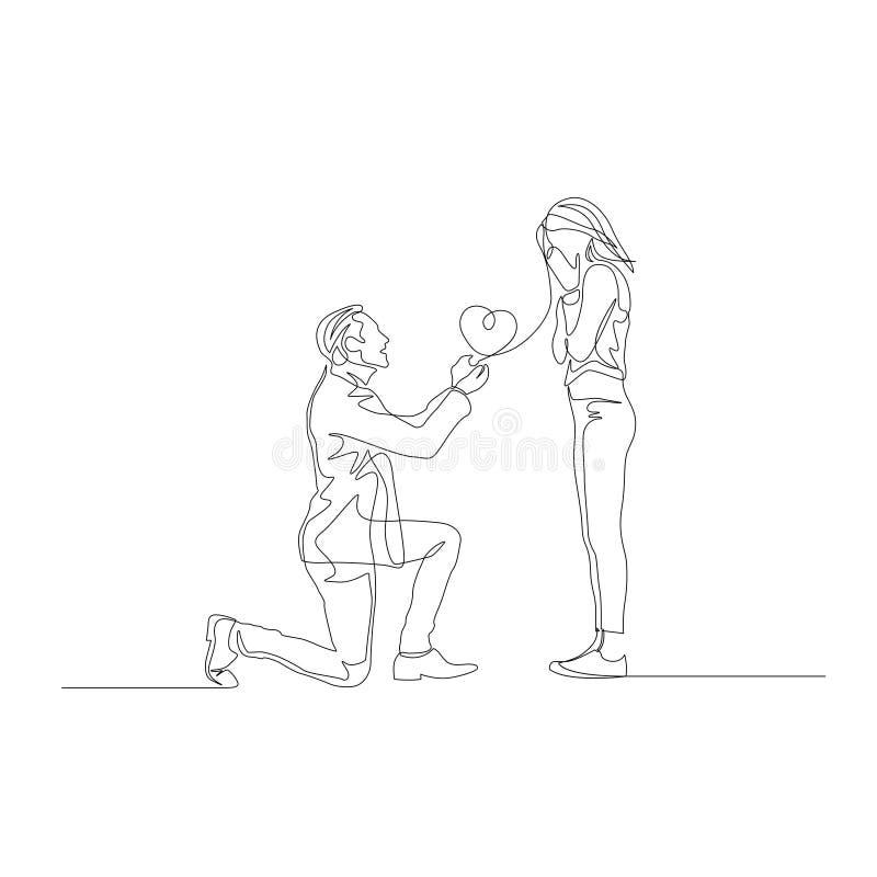 连续的一前锋在膝盖提出结婚提议 向量例证