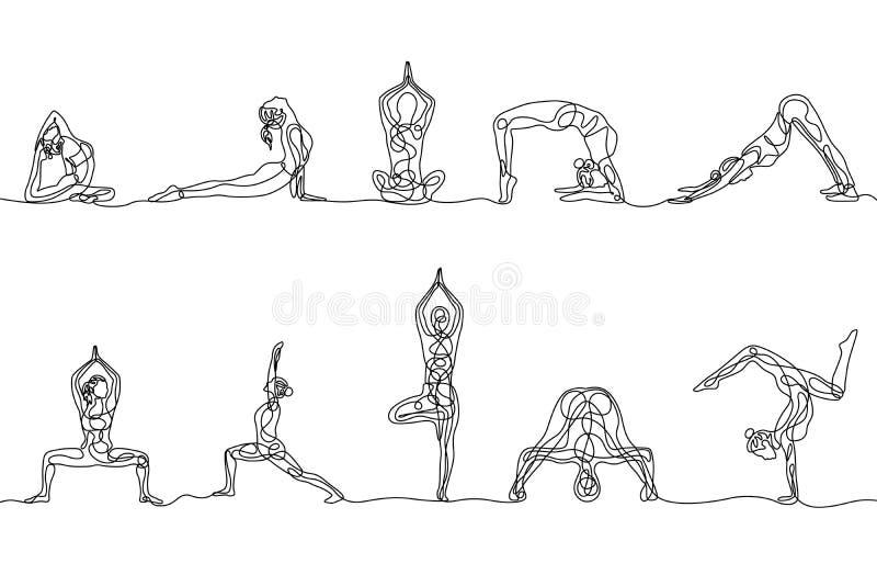 连续的一女子瑜伽姿势线描套  ?? 皇族释放例证