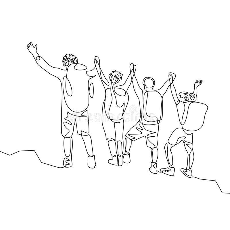 连续的一旅客线描小组有hikings背包的到达目标 o 皇族释放例证