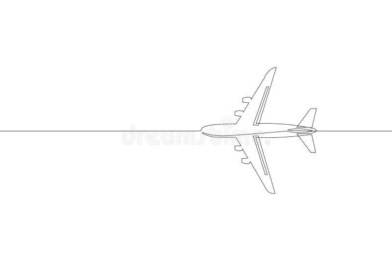 连续的一条个别线路艺术乘客飞机旅行概念 迅速飞行在简单的货物旅行白色天空左面 向量例证