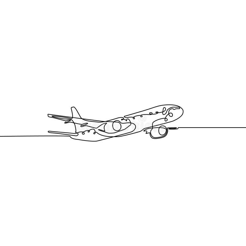 连续的一条线在白色背景隔绝的飞机 向量例证