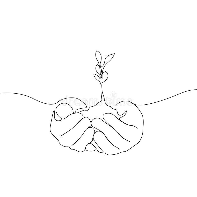 连续的一条线增长的新芽在人的手,Eco概念上 库存例证