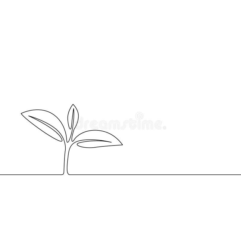 连续的一条线增长的新芽,植物叶子 r 向量例证