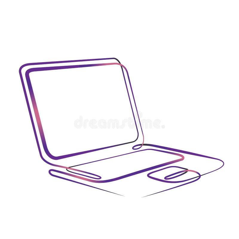 连续的一条线手图画计算机膝上型计算机 向量例证