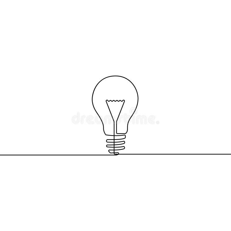 连续的一条线电灯泡-想法的标志 向量例证