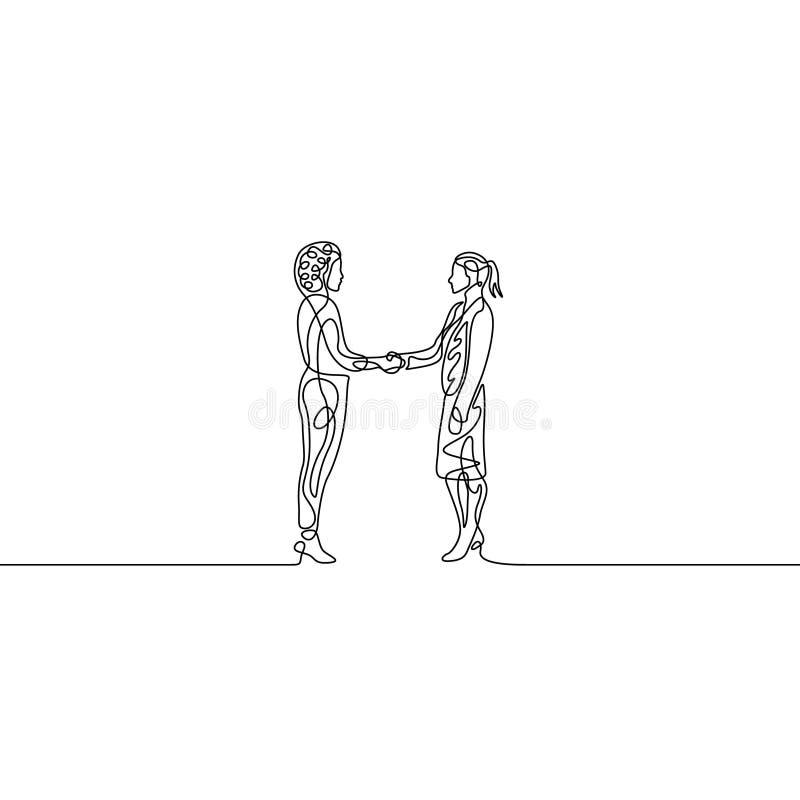 连续的一条线businesswomans握手 协议概念 向量例证
