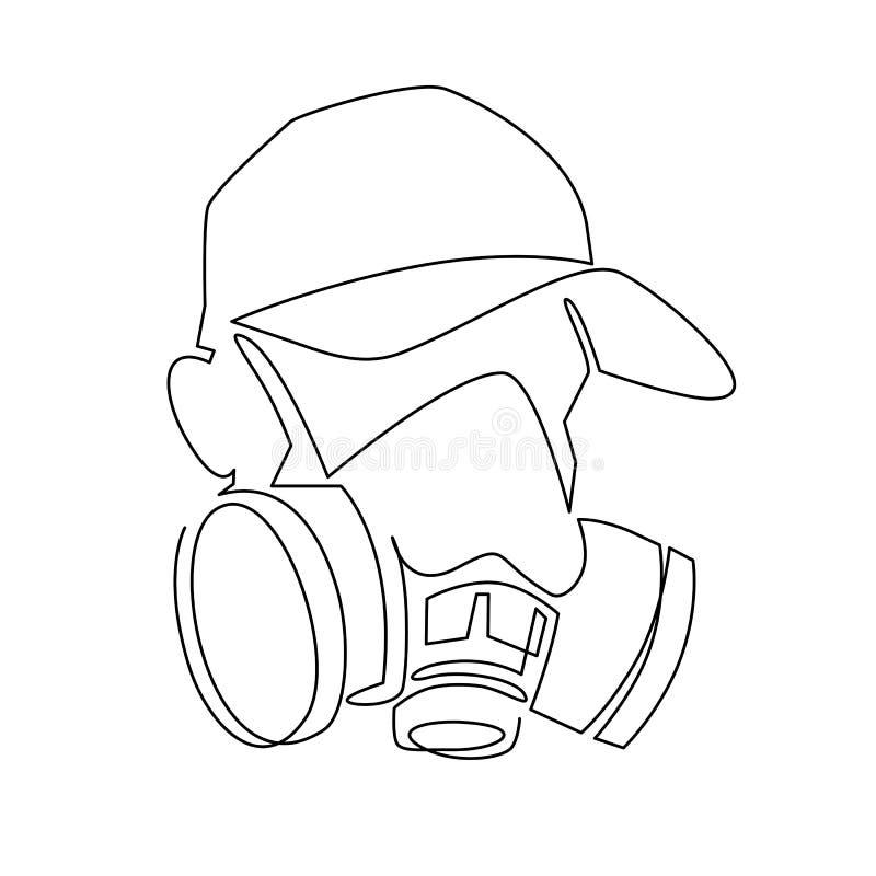 连续的一线描人工呼吸机面具illustartion 盖帽的街道画艺术家 皇族释放例证