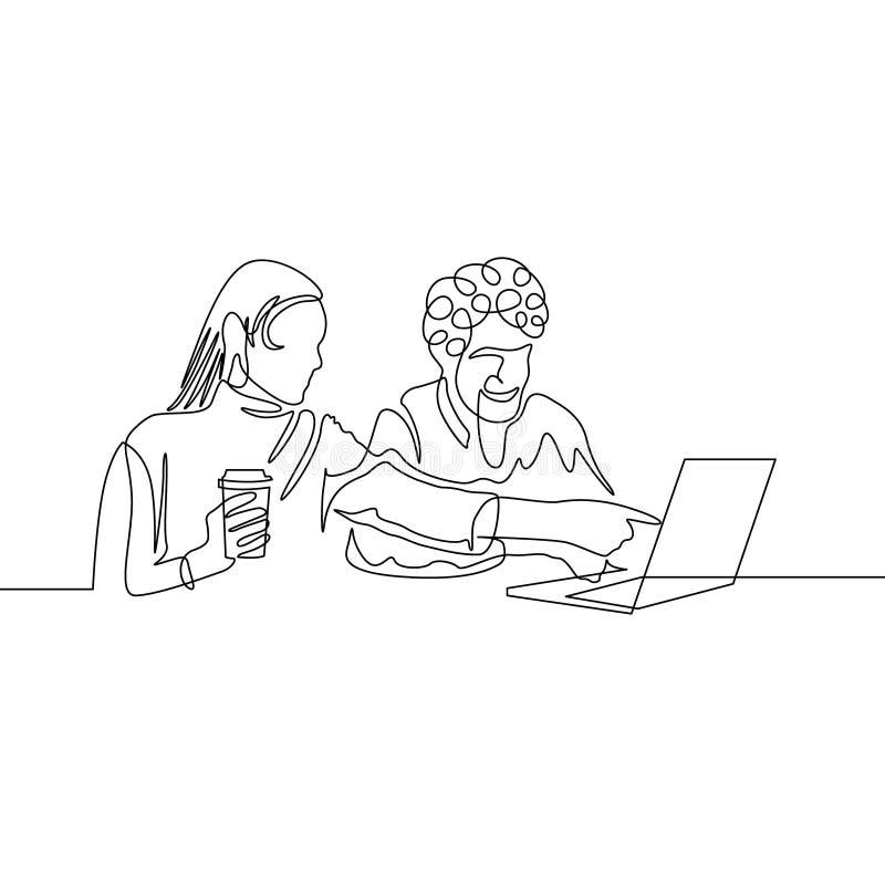 连续的一线描夫妇获得与膝上型计算机互联网的乐趣 皇族释放例证