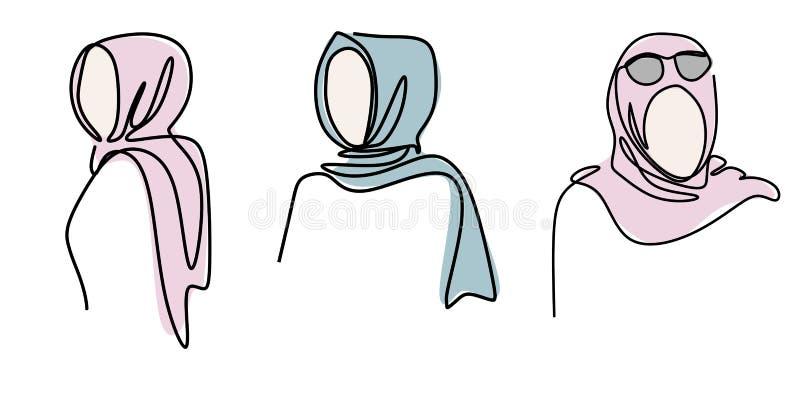 连续的一线描女孩最低纲领派设计hijab时尚在白色背景隔绝的 时髦简单派样式 向量例证