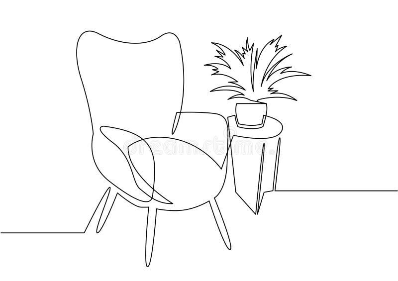 连续的一线描扶手椅子 时髦的办公室内部、椅子和家庭植物传染媒介手拉的剪影clipart 皇族释放例证