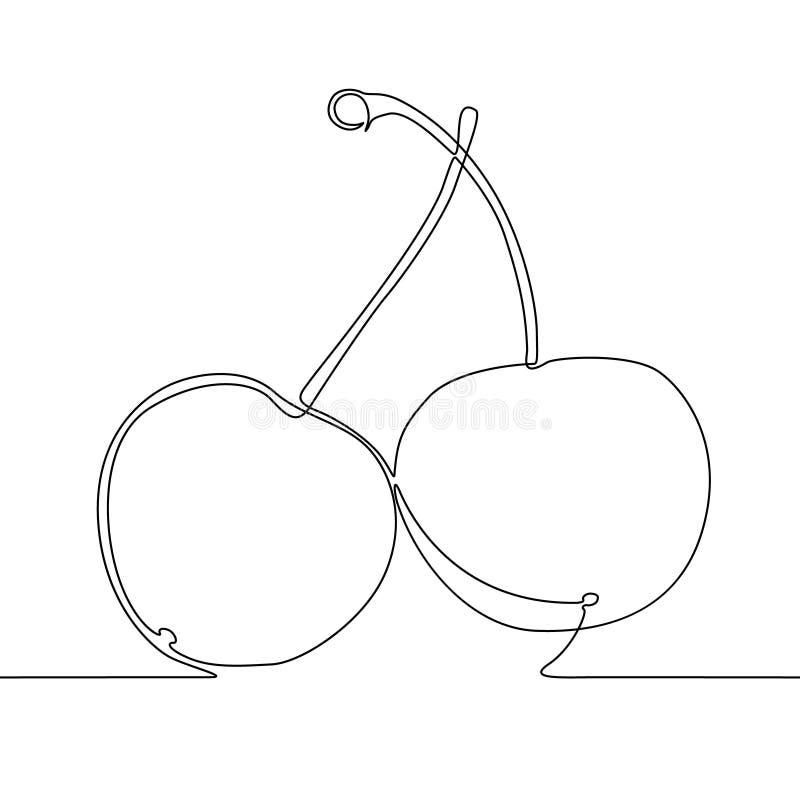 连续的一线描樱桃,莓果 r 向量例证