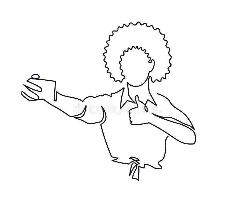 连续的一非裔美国人的妇女线描有非洲的理发的显示在电话照相机的拇指 也corel凹道例证向量 向量例证