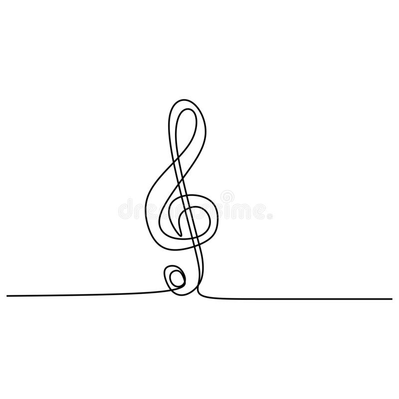 连续线画中一个三音音符矢量一线画简图极简设计 向量例证