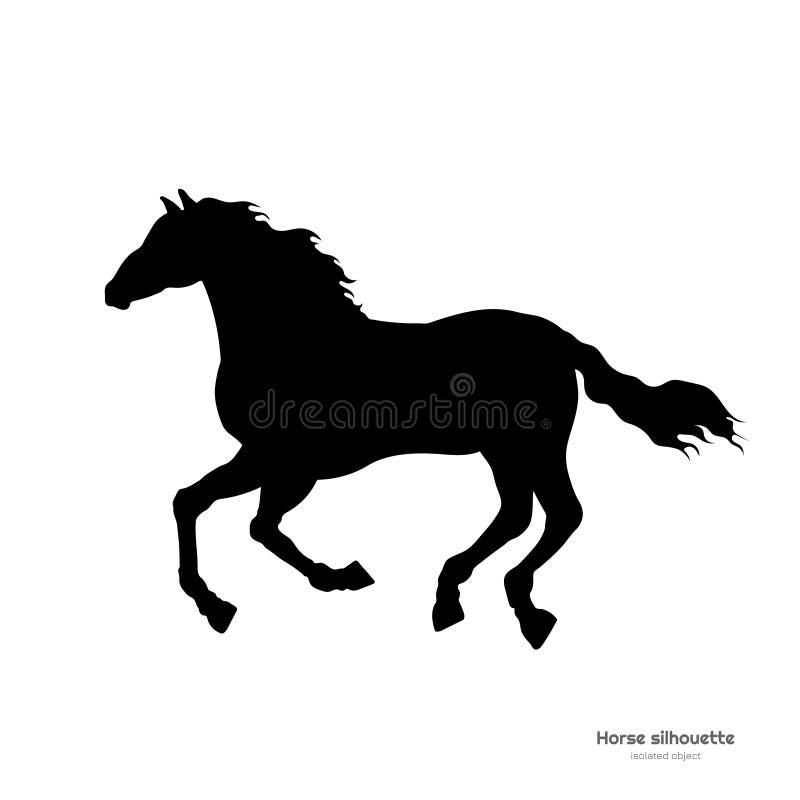 连续马黑剪影  野马被隔绝的细部图在白色背景的 侧视图 库存例证