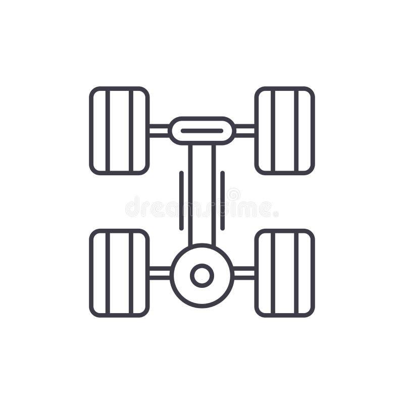 连续齿轮线象概念 连续齿轮传染媒介线性例证,标志,标志 库存例证