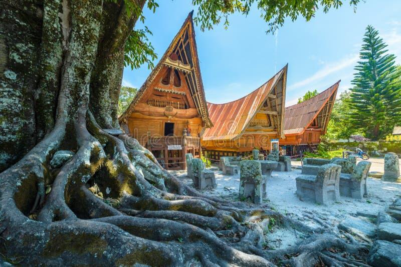 连续Batak传统房子,在前景的树根,小野鸭橙色神色 Ambarita村庄,湖户田,旅行目的地 库存图片