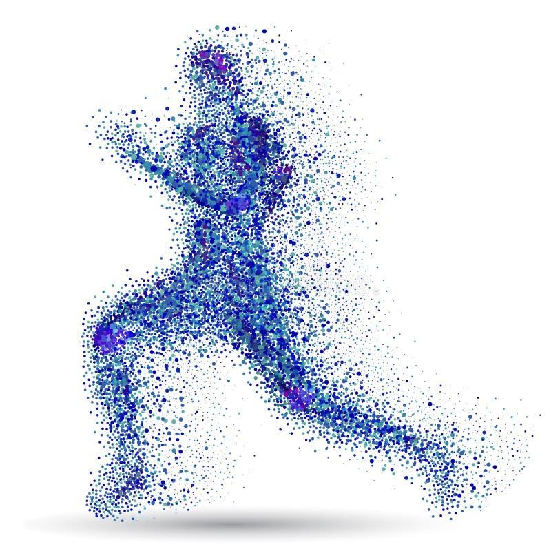 连续人 蓝色微粒组成了赛跑者 抽象向量 连续人剪影 皇族释放例证