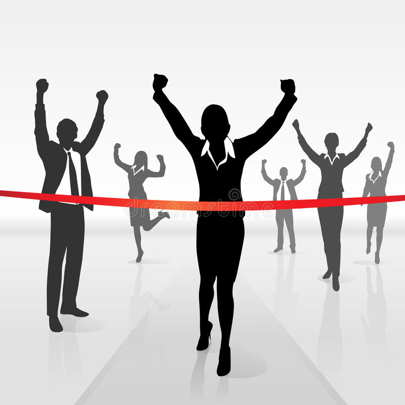 连续女实业家横穿终点线胜利 向量例证