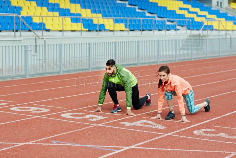 连续实践在体育场内 免版税图库摄影