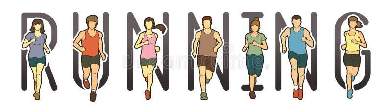连续文本铅印设计,马拉松运动员,跑人的,男人和妇女跑 皇族释放例证