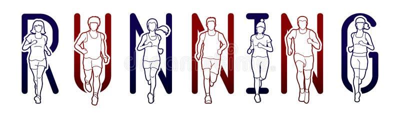 连续文本铅印设计,马拉松运动员,跑人的,男人和妇女跑 库存例证