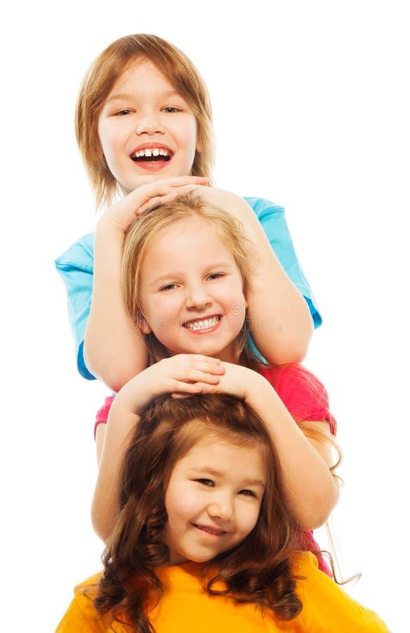三个孩子纵向  免版税库存图片